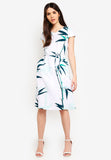 Caryn Printed Sash Midi Dress