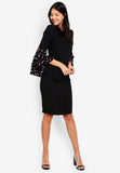 Modanna Layered Sleeves Dress In Black