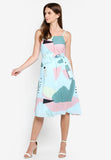Gretchen Abstract Print Dress In Sage