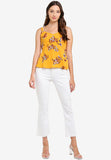 Inez Floral Print Peplum Top in Yellow