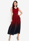 Kendra Ombre Maxi Dress in Wine Red (Premium)