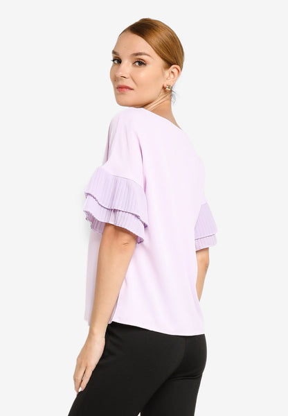 JULY Women Pleated Fluted Sleeve in Lavender