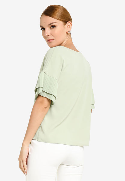 JULY Women Pleated Fluted Sleeve in Dust Green