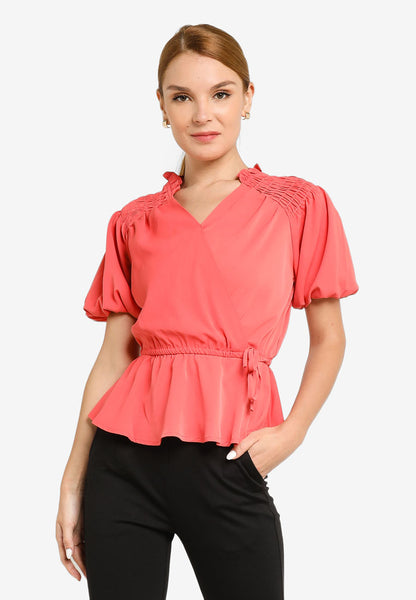 JULY Women Fluted Sleeves Top in Brick Red
