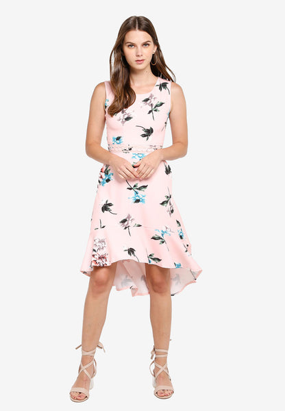 Florence Floral Print Dim Hem Dress in Dust Pink