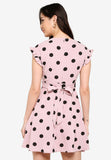 Odessa Polka Dots Midi Dress in Dust Pink