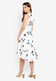 Florence Floral Print Dim Hem Dress in White
