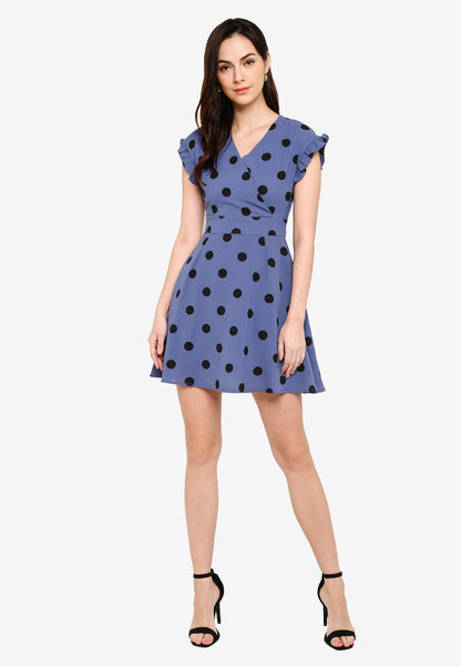 Odessa Polka Dots Midi Dress in Ash Blue