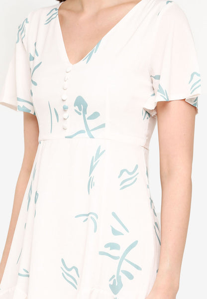 Carnelia Printed Midi Dress in Cream