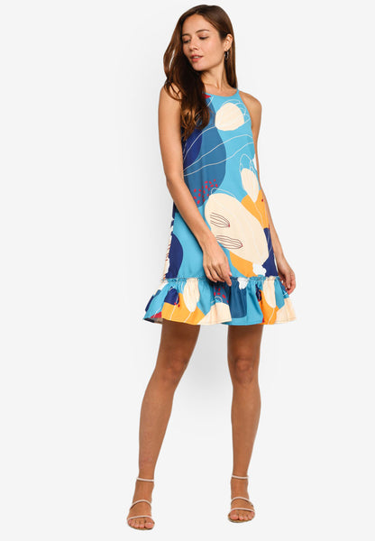 Ellis Abstract Prints Diphem Dress in Blue