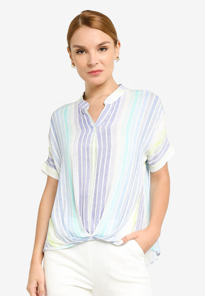 JULY Women Blue Tone Stripe Top