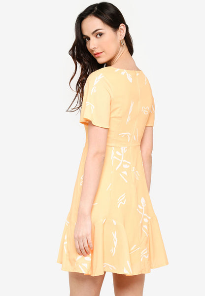 Carnelia Printed Midi Dress in Marigold