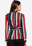 Rowan Multicolor Long Sleeves Belted Blouse