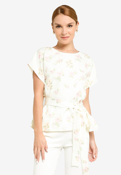 JULY Women Floral Print Sash Blouse in Light Yellow