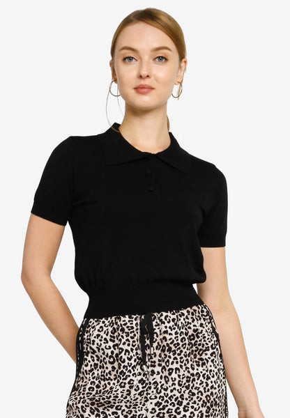 Flavia Polo Knit Top in Black