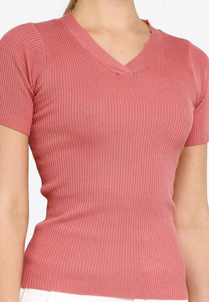 Iska V Neck T Knit Top in Rose Pink