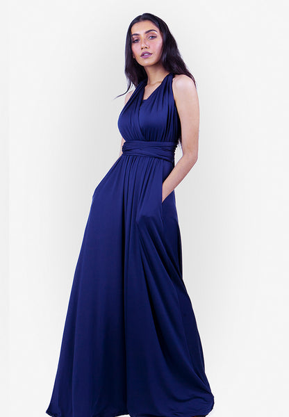 Severine Convertible Bridesmaids Dinner Maxi Dress in Navy Blue