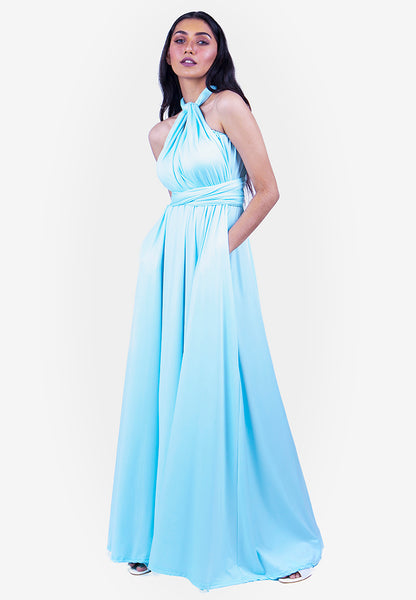 Severine Convertible Bridesmaids Dinner Maxi Dress in Tiffany Blue