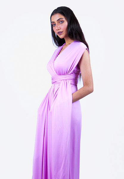 Severine Convertible Bridesmaids Dinner Maxi Dress in Light Purple