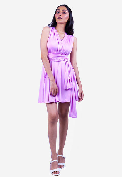 Severine Convertible Bridesmaids Dinner Mini Dress in Light Purple