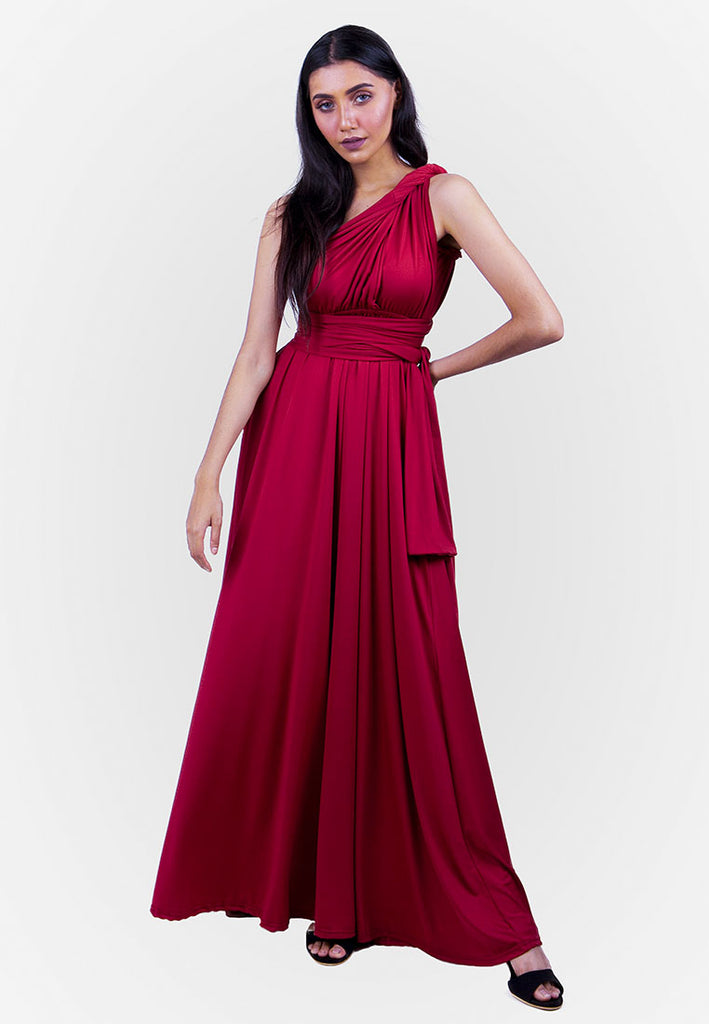 d0720833091 Severine Convertible Bridesmaids Dinner Dress in Burgundy ( Long )