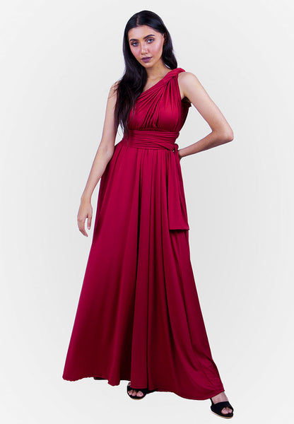 Severine Convertible Bridesmaids Dinner Maxi Dress in Burgundy