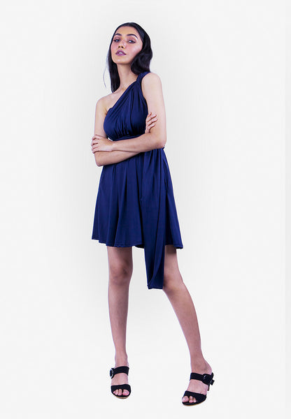 Severine Convertible Bridesmaids Dinner Mini Dress in Navy Blue