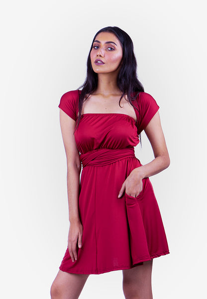 Severine Convertible Bridesmaids Dinner Mini Dress in Burgundy