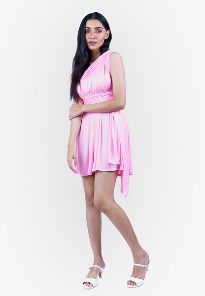 Severine Convertible Bridesmaids Dinner Mini Dress in Pink