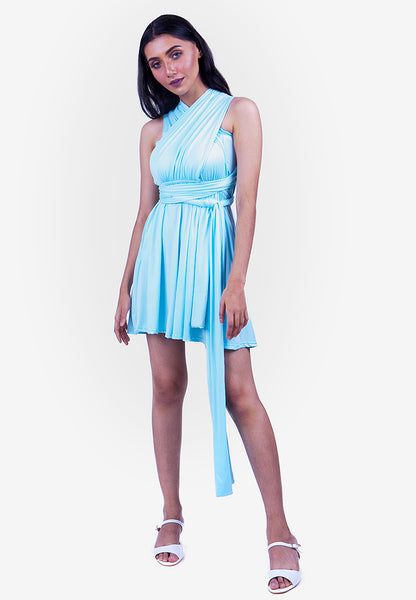 Severine Convertible Bridesmaids Dinner Mini Dress in Tiffany Blue