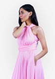Severine Convertible Bridesmaids Dinner Maxi Dress in Pink