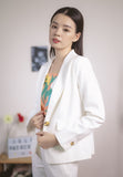 Lachelle Button Front Blazer in White (Premium)