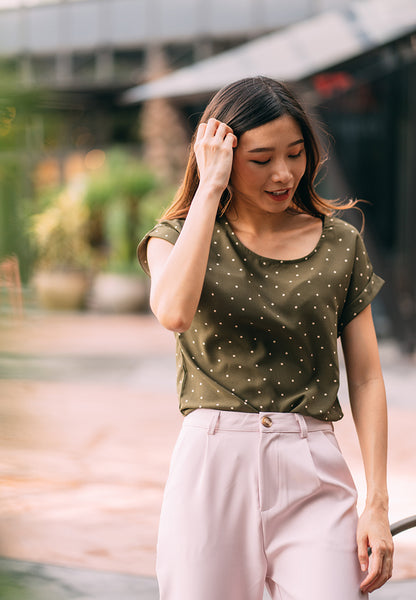 Roselle Polka Dot Top in Dusty Green