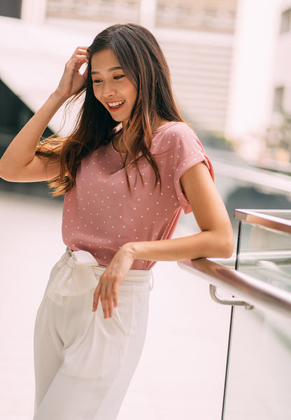 Roselle Polka Dot Top in Dust Pink (Pre-order)