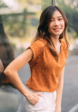 Roselle Polka Dot Top in Burnt Orange