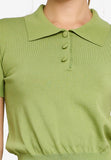 Flavia Polo Knit Top in Green