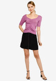 Lena Front Pleated Knit Top in Purple