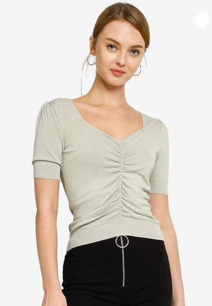 Lena Front Pleated Knit Top in Sea Foam