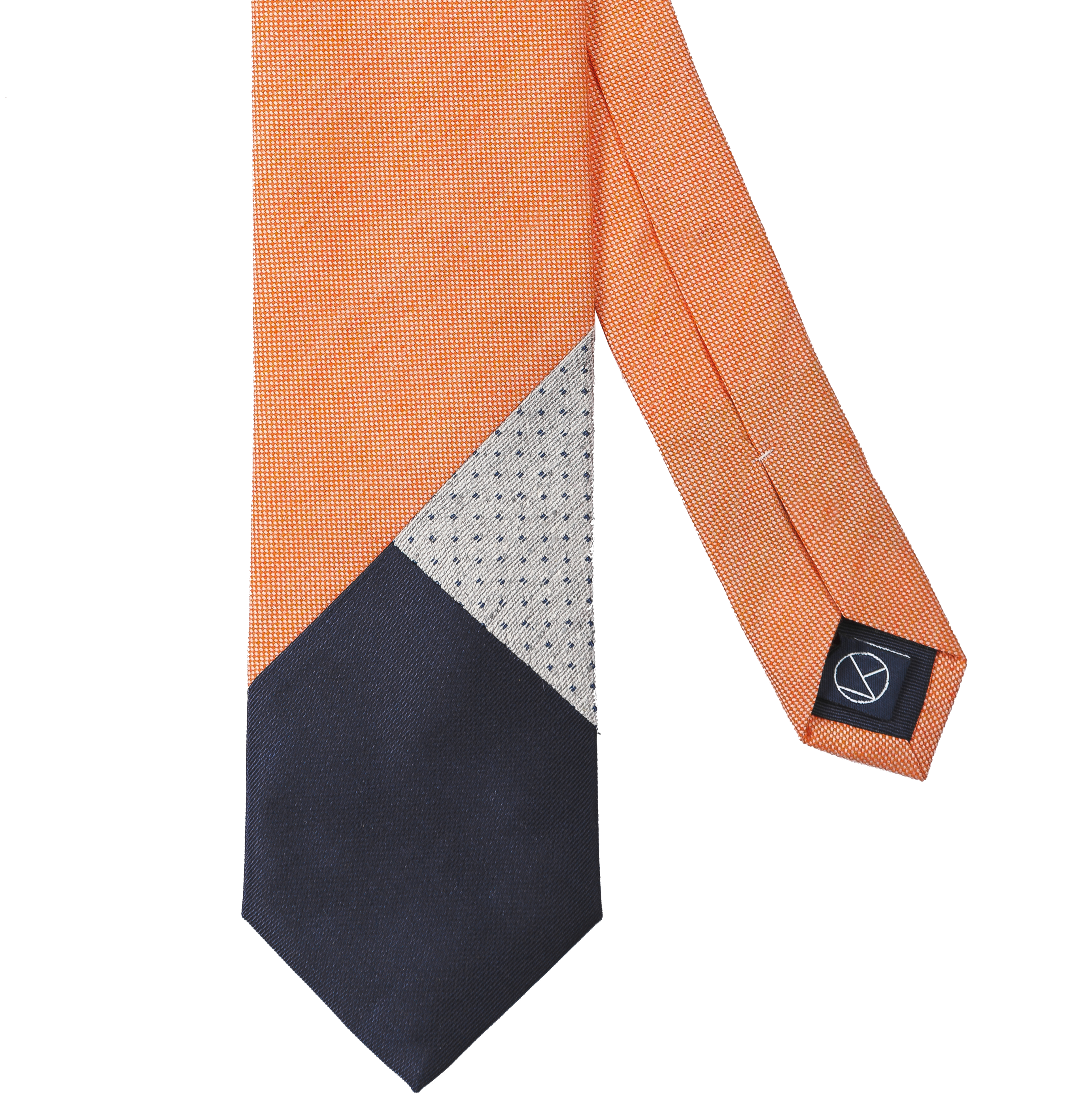 Three-piece necktie with a mix of three textures combining pale orange, gray and navy.