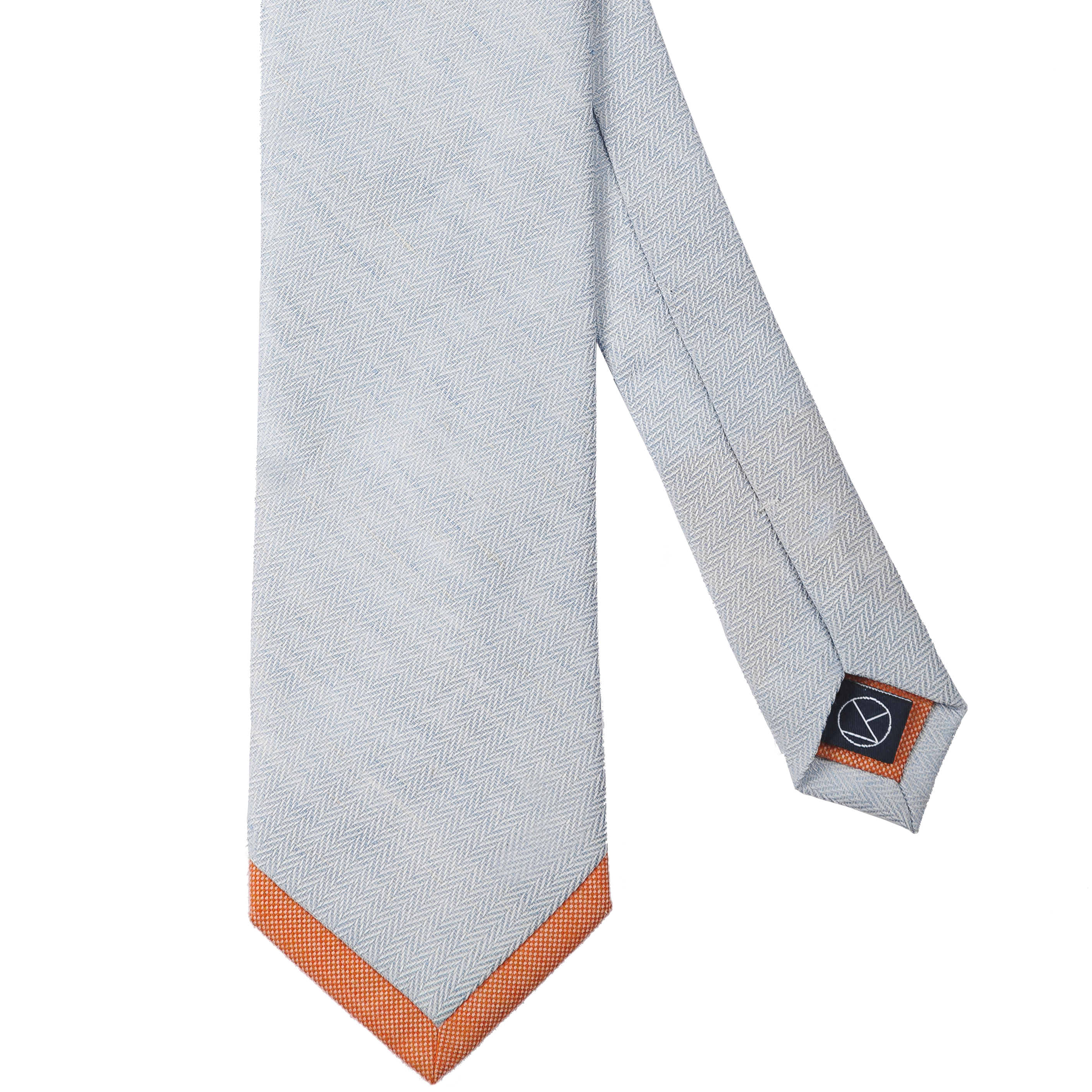 A soft blue herringbone pattern combined with an orange pointed tip.