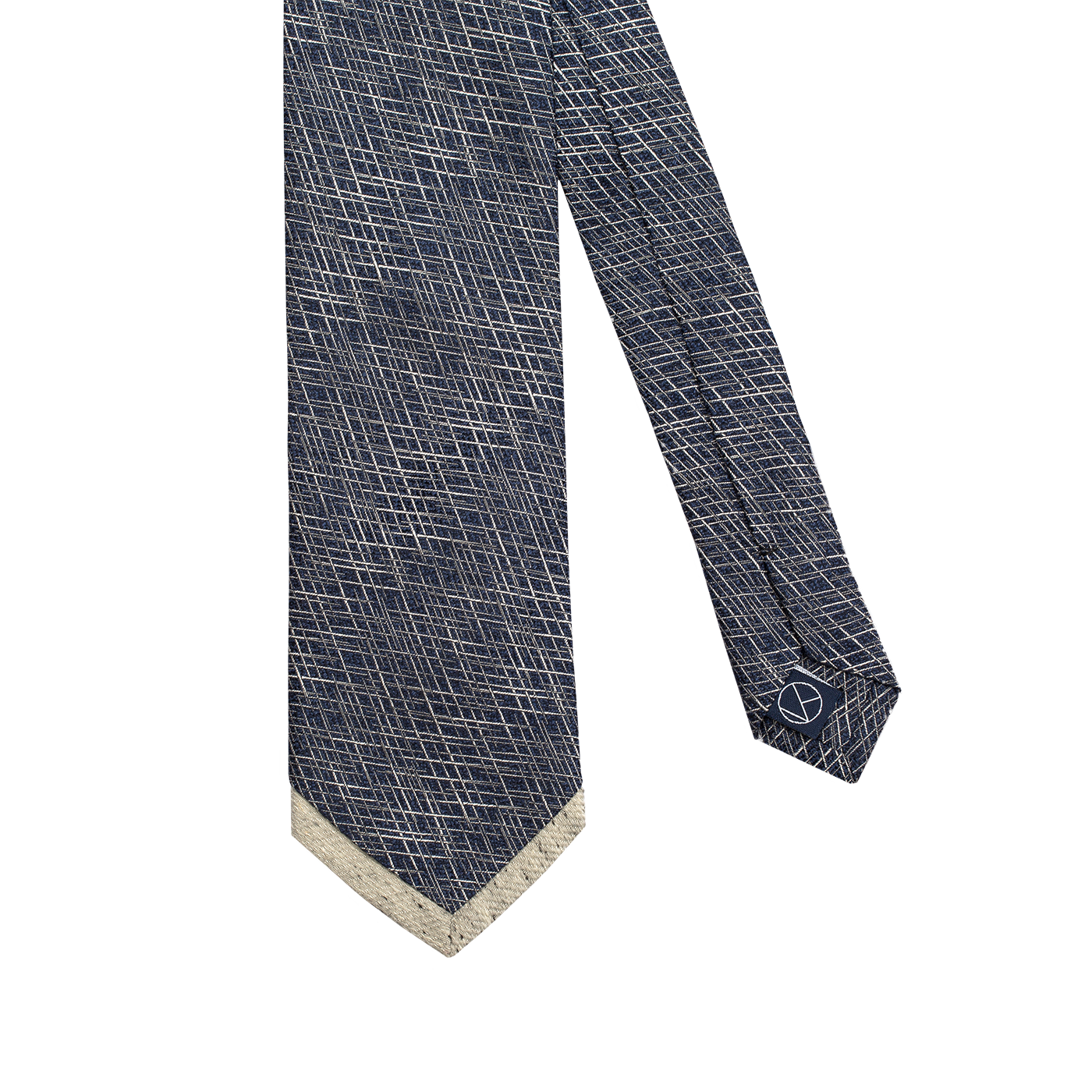 A patterned necktie with silver lines over a deep blue background, with a matching silver pointed tip.