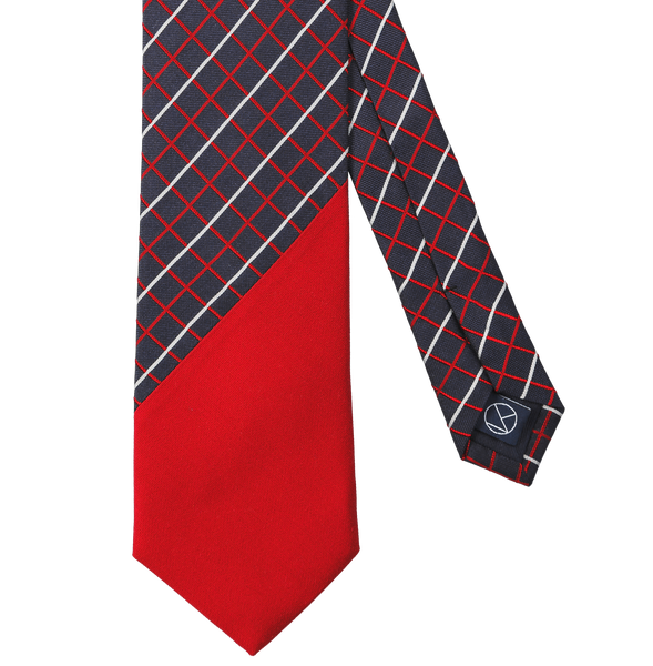 Two-piece necktie with a checked navy silk main part combined with a matt red silk on the tip.