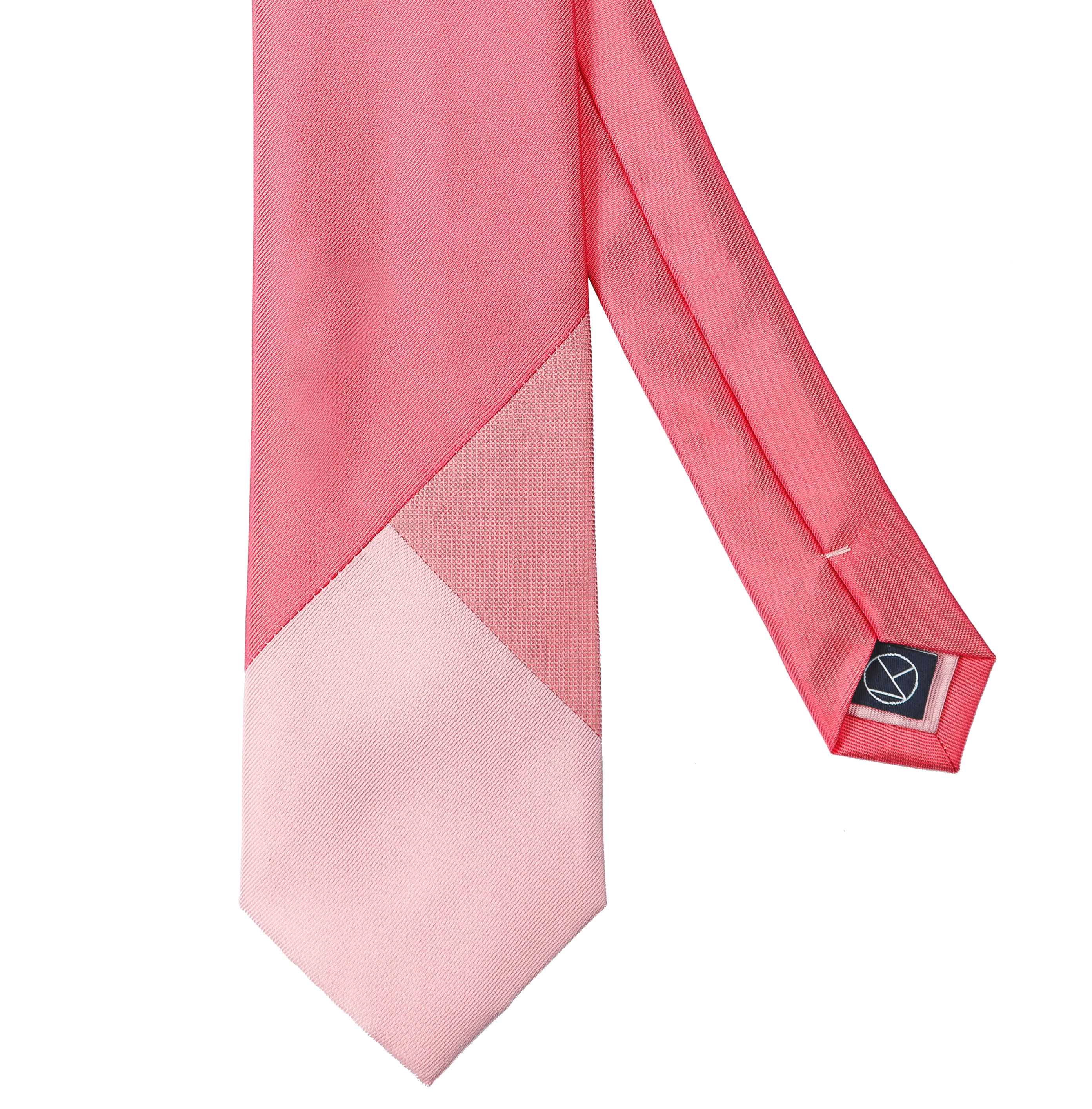 Three-piece necktie with a blend of pink hues with different textures of the softest silk