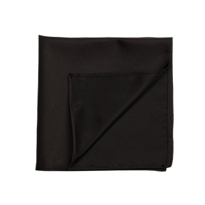100% black and silky pocket square. A basic to any closet.