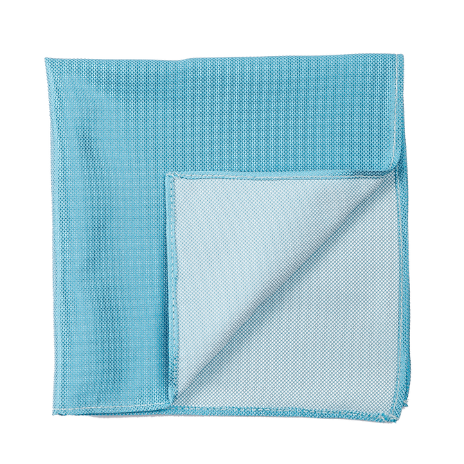 A solid light blue pocket square.