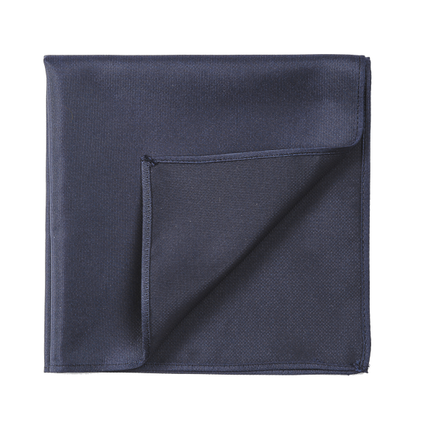 A navy and silky pocket square. A basic to any closet.