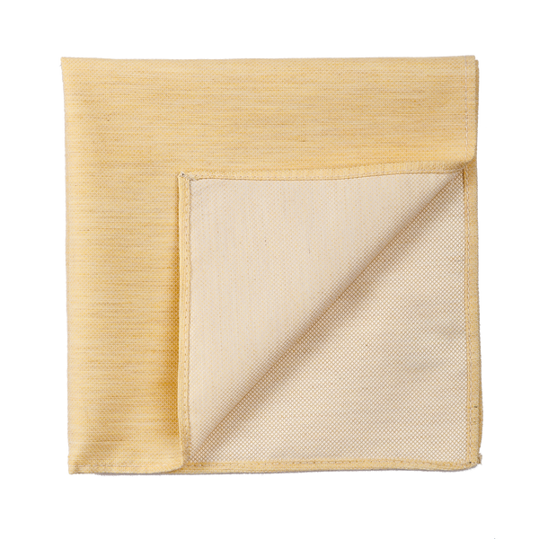 A bright yellow pocket square, made of an elegant silk.