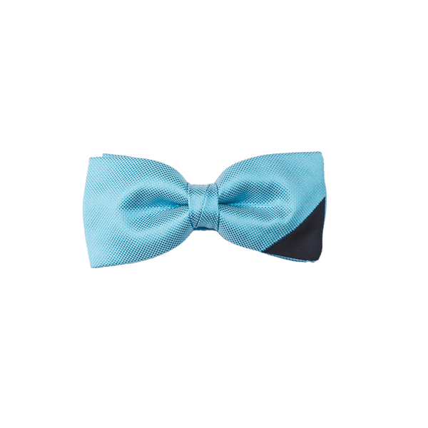 Two-piece light blue bowtie with a navy silk on the lower right corner.