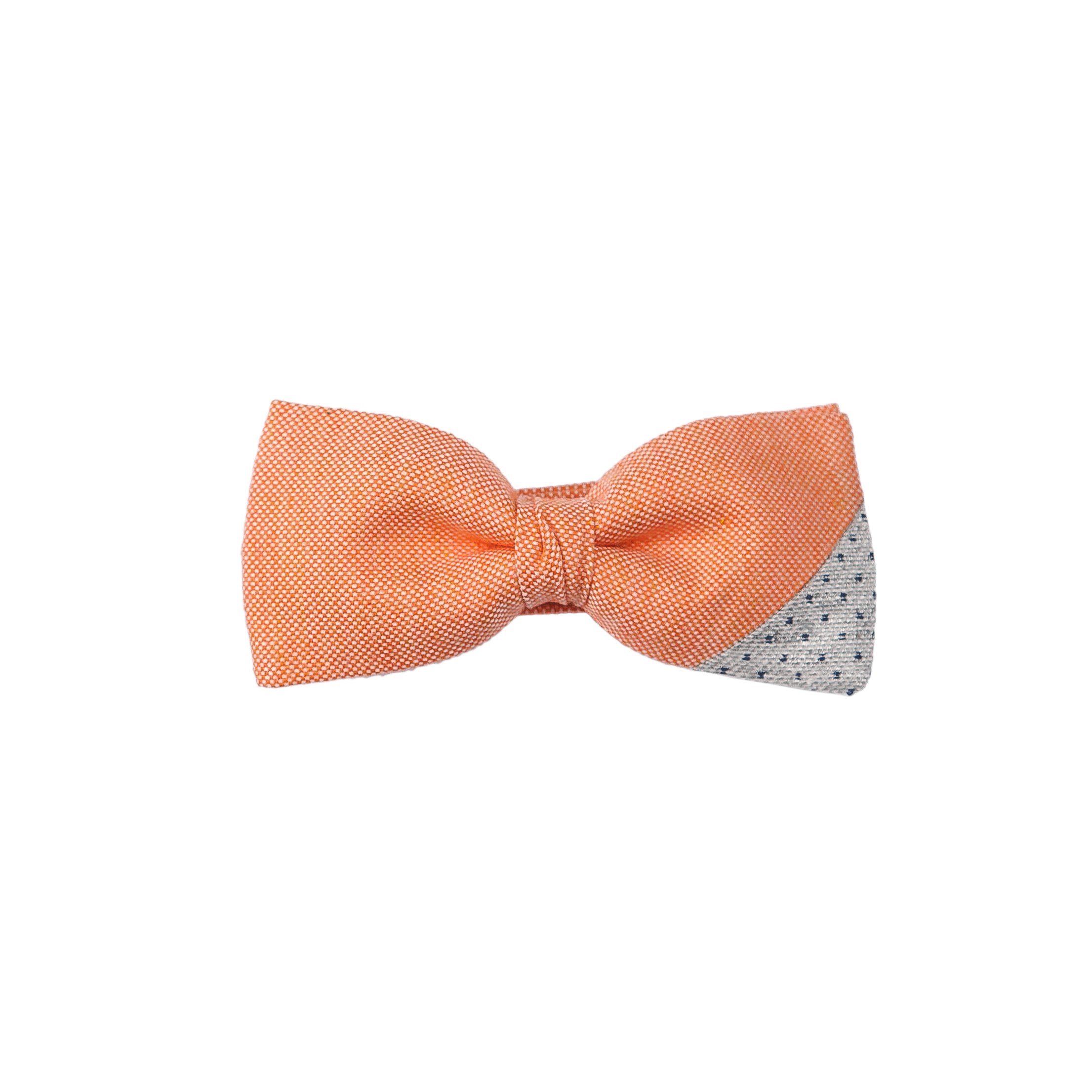 Two-piece bowtie combining a light orange silk with a dotted gray fabric.