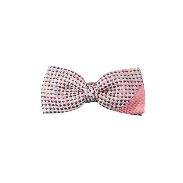 A two piece tie combining a pale pink silk diamantino with a pink and navy patterned silk.
